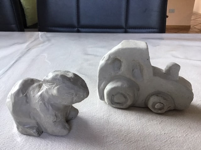 Cassandra and Jeremiah Stott clay carving finished pieces