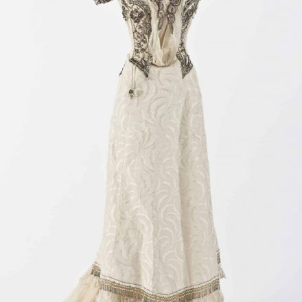 Image: J. M. Easson, Ladies' Ball Dress, Dundee, Scotland, 1892-1901. Skirt and bodice, machine and hand stitched Japanese silk, lace, silk organza, glass and metal beading and sequins, plastic pearls, diamantes, cotton lining, boning, eye hooks
